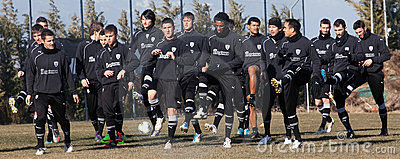 Coaching the football team of PAOK Editorial Stock Photo