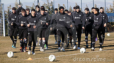 Coaching the football team of PAOK Editorial Stock Image