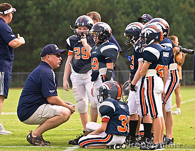 Coaching Little League Football Editorial Image