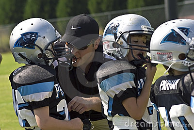 Coaching Little League Football Editorial Stock Photo