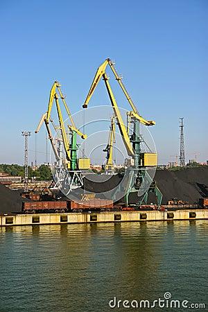 Coal cranes in harbour