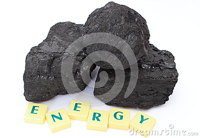 Coal lump on white background