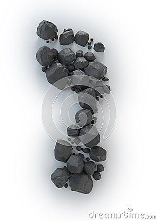 Coal lumps forming a footprint -