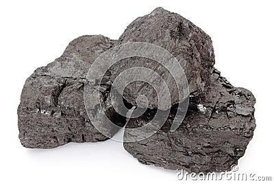 Coal lumps on white background