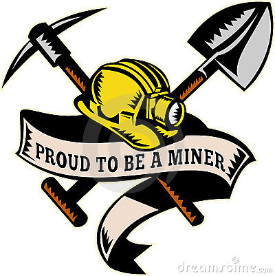 Coal miner hardhat hat shovel