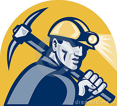 Coal Miner With Pick Axe Retro Woodcut Royalty Free Stock Image - Image: 23040486