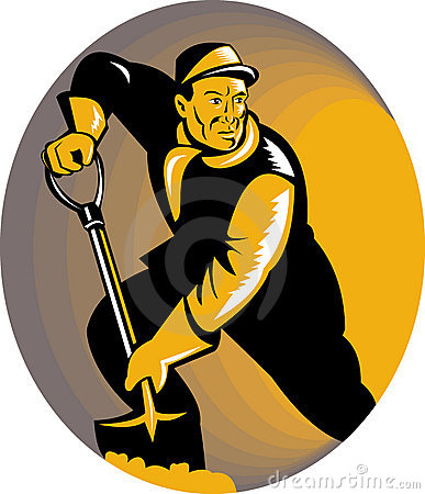 Coal miner or stoker with shovel