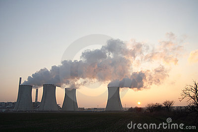 Coal power plant at sunset