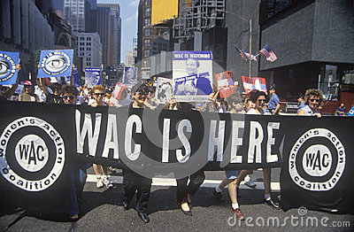 Coalición de las mujeres que marcha en Nueva York Imagen editorial
