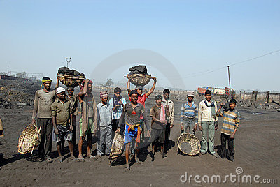 Coalminers in India Editorial Stock Image