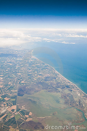 Coast from the Air with Clouds