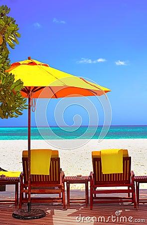 Coast beach sleeping chair in Maldive
