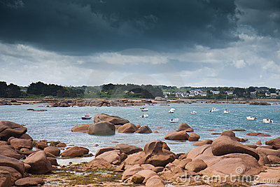 Coast of Brittany with threatening thunderstorm