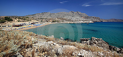 Panoramic view of Agathi beach on Mediterranean sea, Rhodes Island - Greece