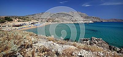 Panoramic view of Agathi beach on Mediterranean sea, Rhodes Island - Greece