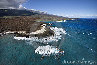 Coast with lava rocks.