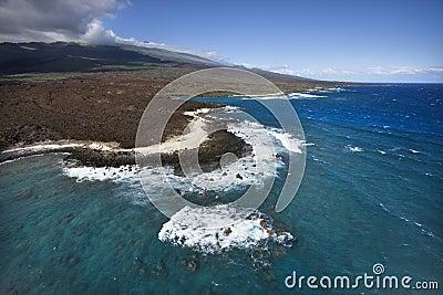 Coast with lava rocks.