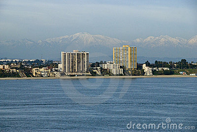 Coast of Long Beach California with Mountains