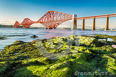 Coast at low tide near the Firth of Forth Bridge