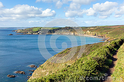 Coast path Kenneggy Sand Cornwall England near Praa Sands and Penzance