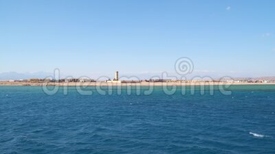 The coast of the Red Sea in Egypt. View from a floating boat stock video footage