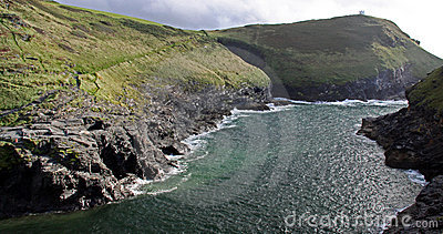 Coast view of rocky cliffs and cove, Cornwall, UK