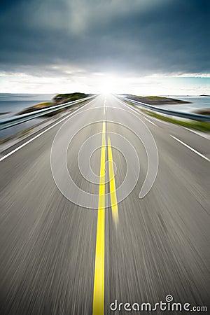 Coastal highway road in motion