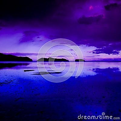 Coastal scene at dusk