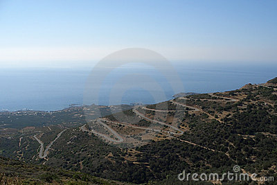 Coastal scenery with serpentines at Crete