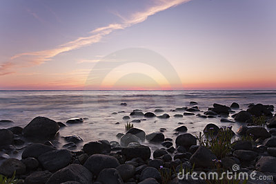 Coastal twilight scene. Southern of Sweden.