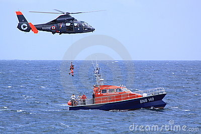 Coastguard rescue mission in progress Editorial Stock Image