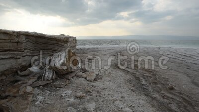 Coastline of the Dead Sea. At evening stock video