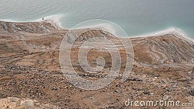 Coastline of the Dead Sea. At evening stock footage