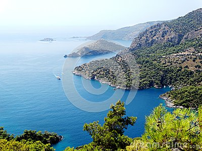 Coastline landscape of mediterranean sea turkey