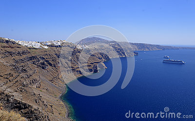 Coastline of Santorini island