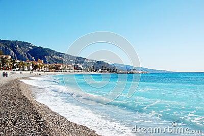 Coastline of village Menton - French Riviera - Fra