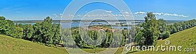 Coastline of Volga river in Nizhny Novgorod - pano