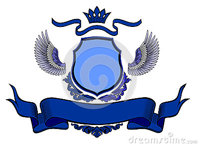 Coat of arms blue on white background