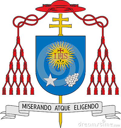 Coat of arms of Jorge Mario Bergoglio (The Pope Francis I) Editorial Photo