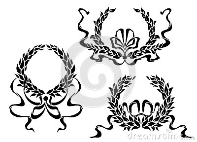 Coat of arms with laurel leaves and ribbons