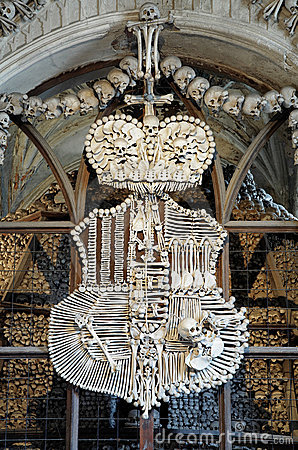 Coat-of-arms made with bones in Sedlec ossuary