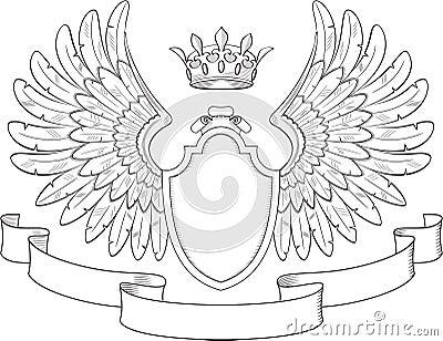 coat of arms with wings cartoon vector cartoondealer com 18353913