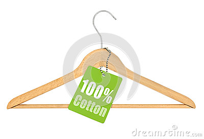 Coat hanger with hundred percent cotton tag