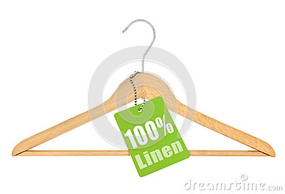 Coat hanger with hundred percent linen