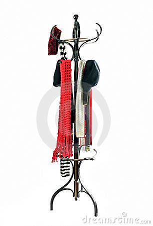 Free Coat Rack With Hats And Scarves Royalty Free Stock Photography - 4004497