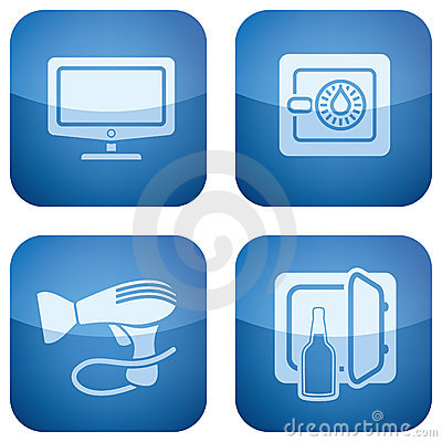 Free Cobalt 2D Squared Icons Set: Hotel Royalty Free Stock Photo - 14124485