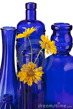Free Cobalt Blue Bottles With Flowers Royalty Free Stock Photos - 11080708