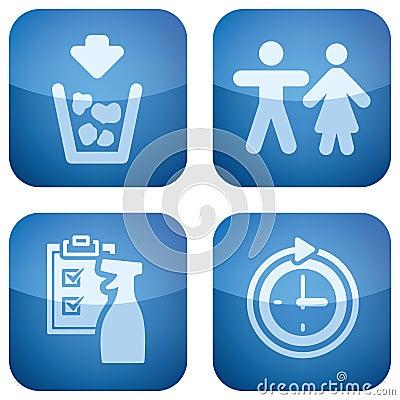 Cobalt Square 2D Icons Set
