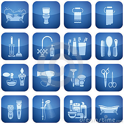 Free Cobalt Square 2D Icons Set: Bath Royalty Free Stock Image - 12944426