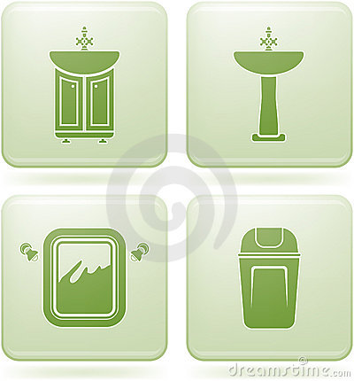 Cobalt square 2d icons set bathroom royalty free stock for Bathroom 2d planner